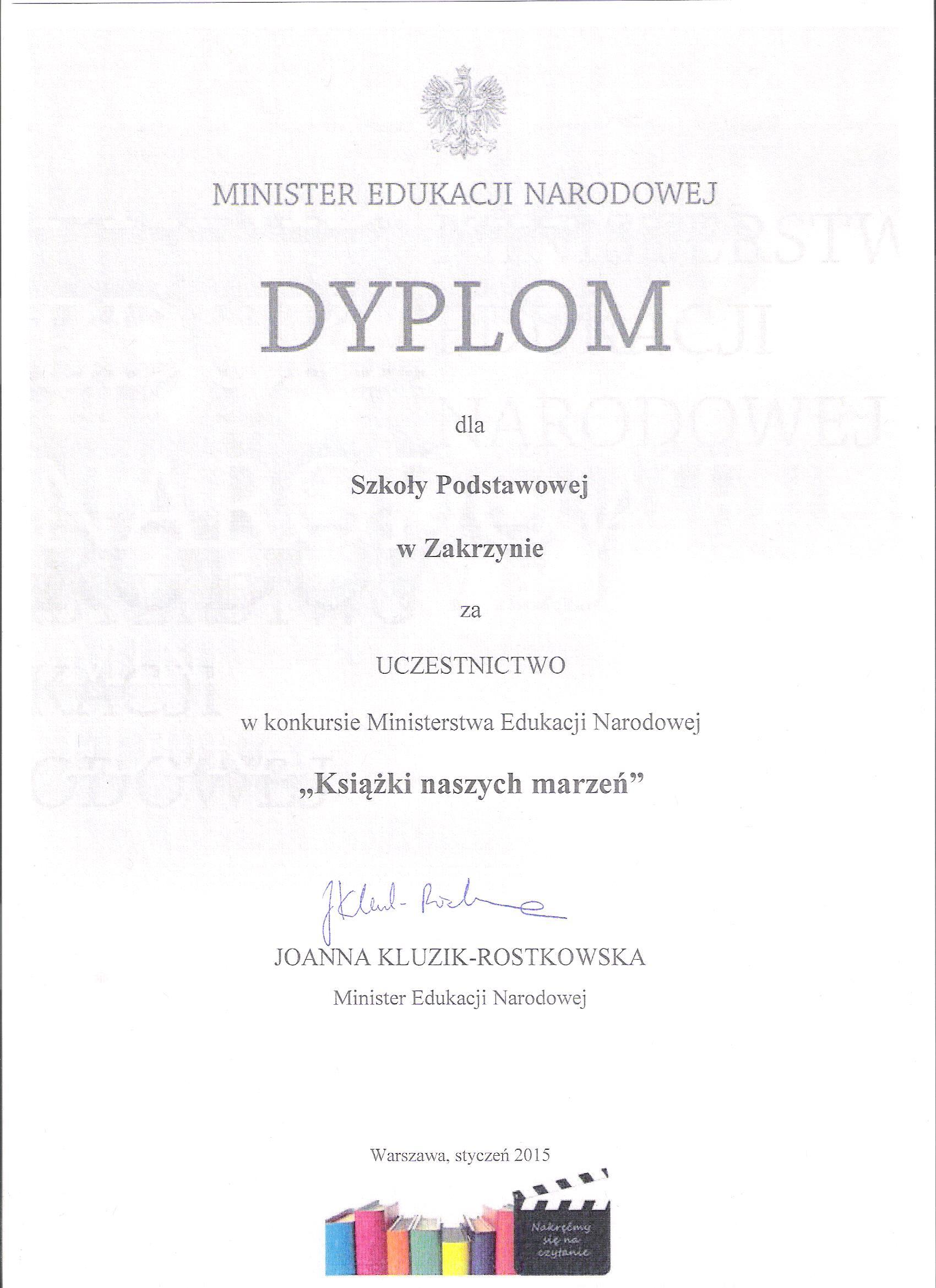 Dyplom Minister Edukacji Narodowej dla Szkoły Podstawowej wZakrzynie